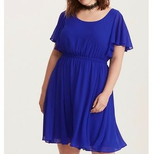 Torrid Cobalt Blue Chiffon Skater Dress Size 3